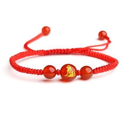 晶焕红玛瑙十二生肖手串手编红绳男女本命年手链生日新年礼物