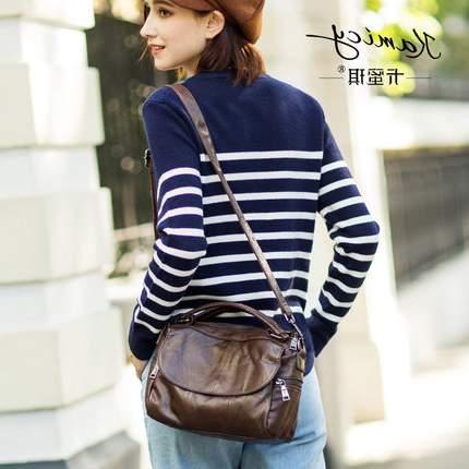 卡蜜琪2018新款女包韩版复古风真皮手提包质感时尚潮流单肩斜挎包