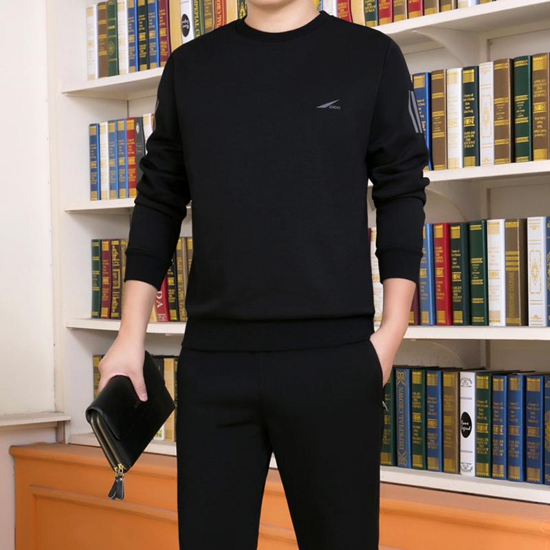 运动套装男春秋圆领2019新款休闲运动服两件套大码套头跑步运动衣