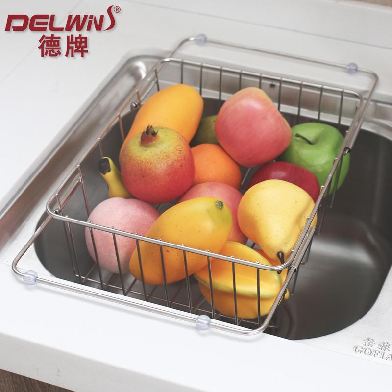 沥水篮碗碟架碗架厨房收纳架304不锈钢管伸缩水槽沥水架果盘加粗