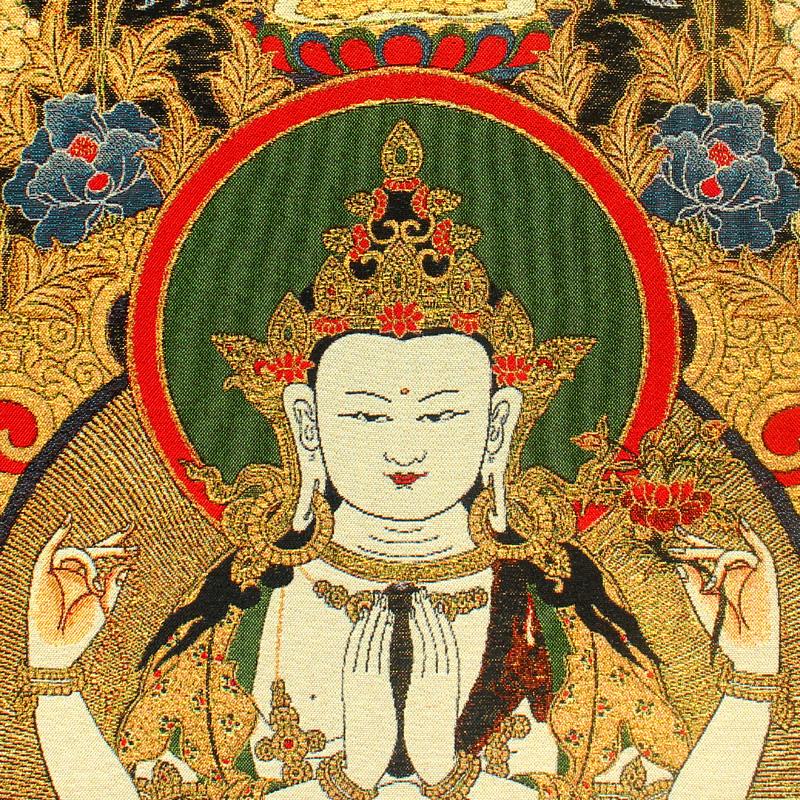 四臂观音唐卡画像客厅玄关尼泊尔刺绣镇宅手绘西藏式密宗佛像挂画