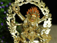 Tibetan Buddhism Pure Copper Buddha Image Six-armed Mahakala Laura Conservation Copper Statues