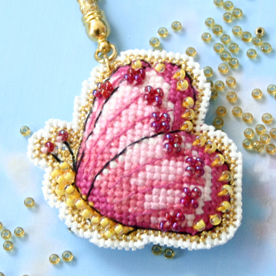 凉风十字绣 双面绣手机链挂件SX240 粉蝴蝶 珠子、金线