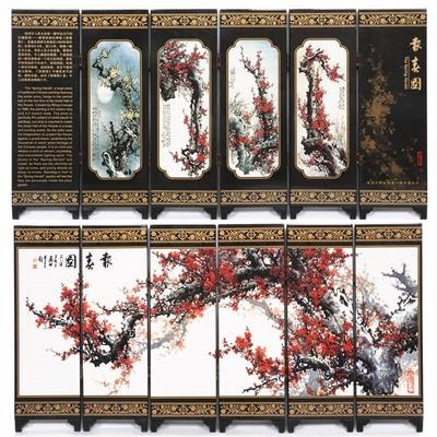 小屏风装饰摆件漆器中国风特色礼品出国送老外纪念品书桌古典装饰