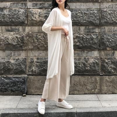 夏季轻薄外套chic韩版宽松冰丝针织衫外搭中长款空调防晒衫开衫女