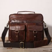 Handmade Crazy Horse Oil Leather Men's Bag Shoulder Messenger Bag Retro Messenger Bag Leather Men's England Tote Briefcase