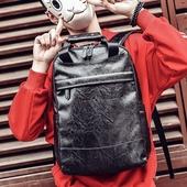 男士韩版双肩包潮流背包电脑包时尚大学生百搭休闲男包PU皮质书包