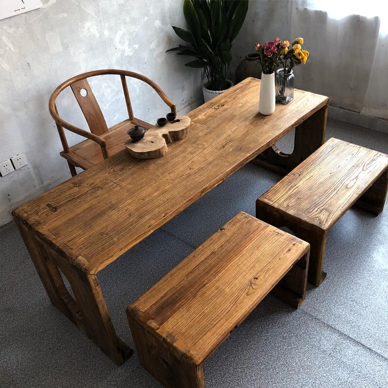 茶桌椅组合实木功夫茶几茶台老榆木泡茶桌茶艺桌中式仿古家具定做