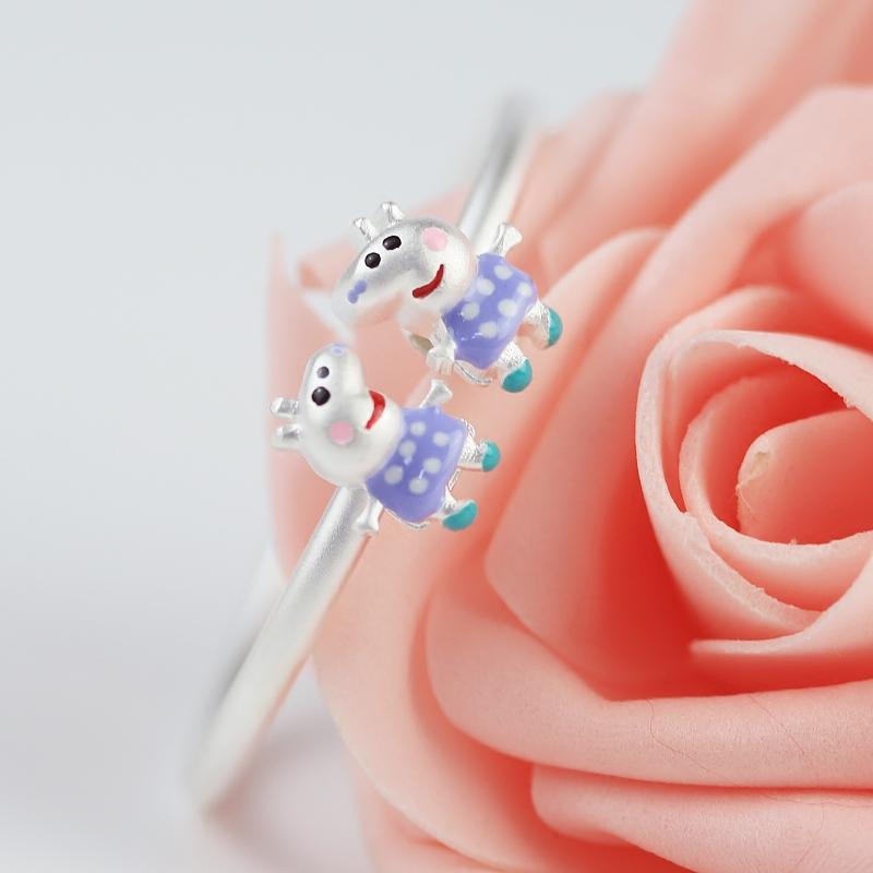 足银手镯男女小猪镯子纯银开口调节手环可爱宝宝啥是佩奇礼物热卖