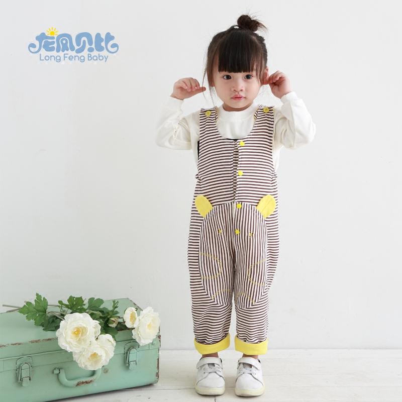 龙凤贝比0-3岁宝宝男女儿童背带裤纯棉婴幼儿长裤子开裆裤档春秋