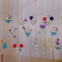 Creative hanging transparent glass vase small hanging bottle simple hydroponic flower indoor gardening home decoration bottle