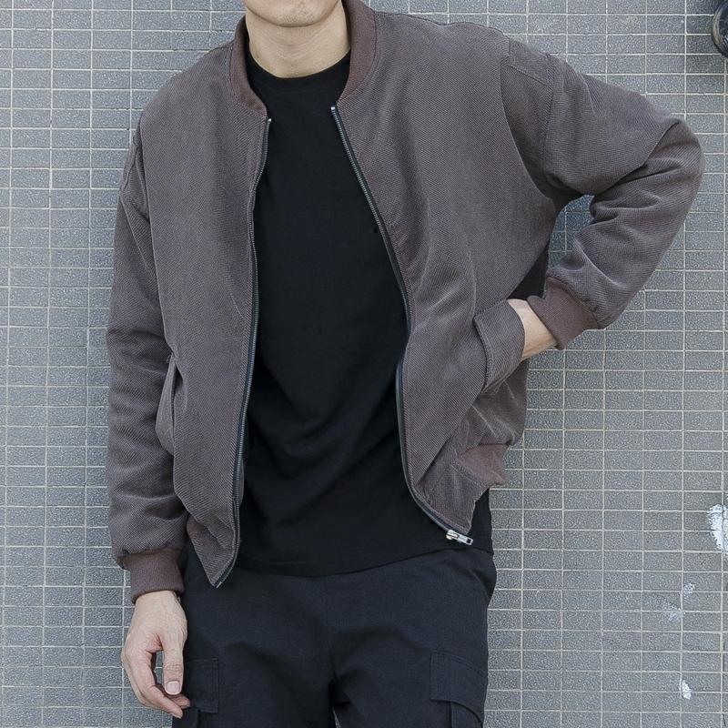 秋季夹克男 新款男士灯芯绒外套潮学生韩版修身纯色棒球服青少年
