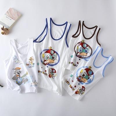 儿童薄款背心纯棉 夏季宝宝贴身无袖上衣男童 小中童圆领百搭内衣