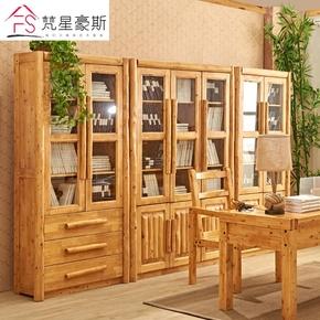 现代中式全实木书柜 柏木书架储物自由组合带玻璃门书橱原木家具