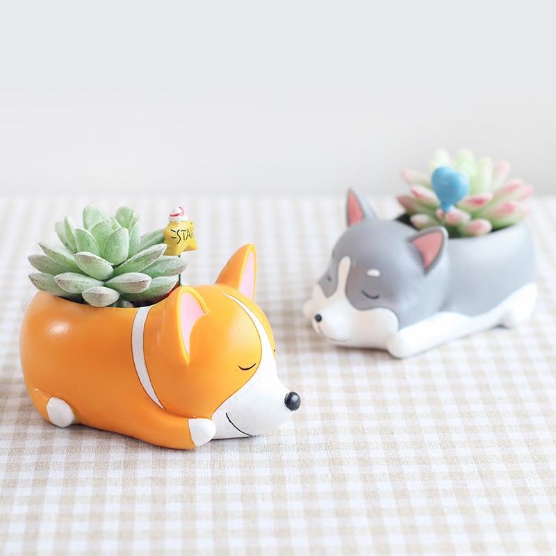 zakka创意柯基犬多肉植物花盆可爱卡通小狗趴趴桌面装饰微景观1元优惠券