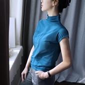半高领短袖T恤女2018夏装新款韩版宽松上衣chic纯色棉百搭显瘦