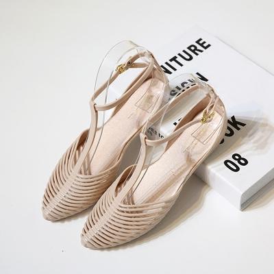 2017夏新款塑料凉鞋女 平底包头个性沙滩镂空舒适软底防水果冻鞋