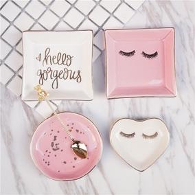 3件包邮gorgeous粉嫩甜美睫毛弯弯首饰收纳描金陶瓷心形装饰器皿