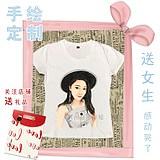 Commemorative t-shirt customization Hand-painted graffiti head cotton clothes men and women portraits Q version lovers wear parent-child gift