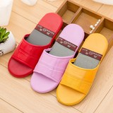 Home indoor couple four seasons wooden floor Haining leather slippers men and women summer non-slip silent soft bottom summer