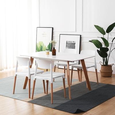 左下 北欧家用餐桌 简约实木脚饭桌小户型餐厅桌椅组合吃饭方桌子618大促