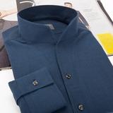 Baaler/拜耳 立领衬衫 单袖口衬衫长袖 修身 拉绒纯棉保暖