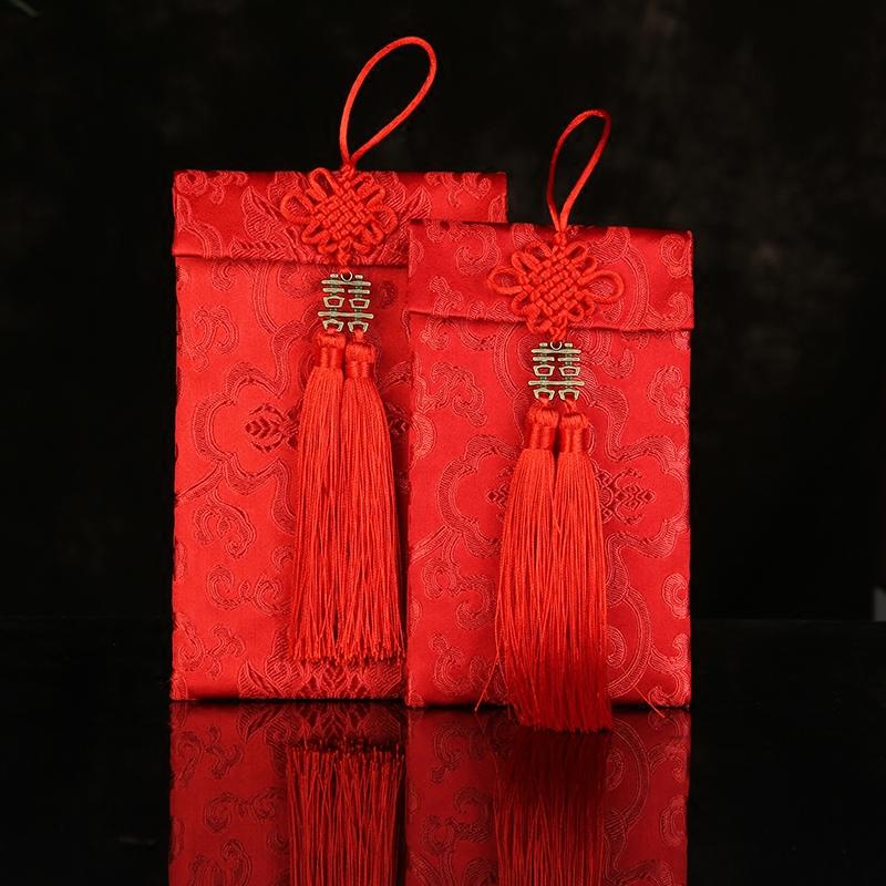 结婚包邮小喜挂件一万2W3万双流苏绸缎大布艺红包袋改口利是封