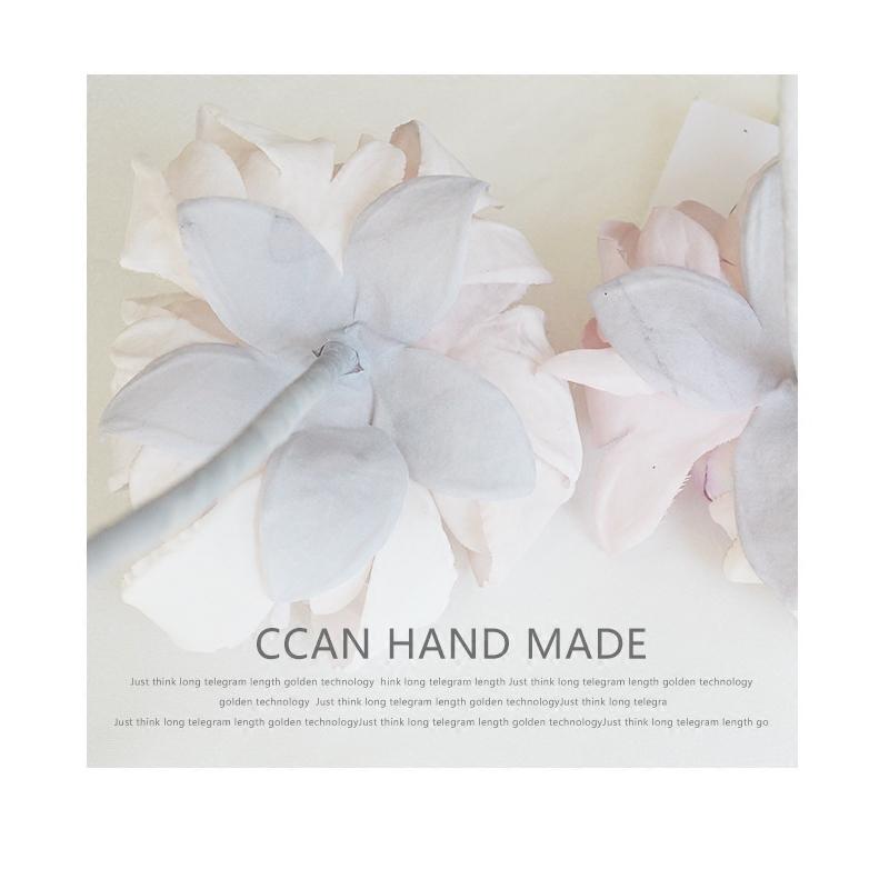 CCAN新品淡雅浅粉色并蒂莲新娘头花影楼创意写真样片剧组头饰品