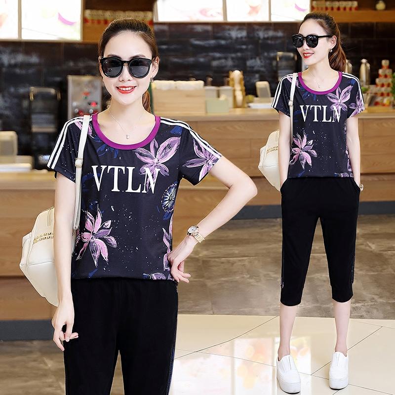 运动休闲套装女2019夏装时尚短袖七分裤东南亚泰国游女装两件套潮