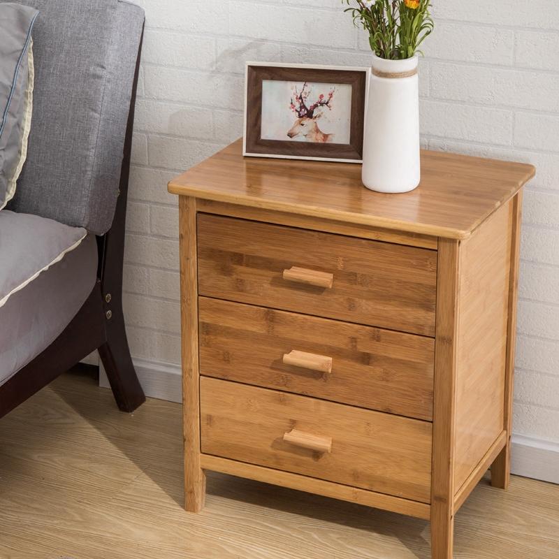 竹庭实木床边小柜子简易经济型储物柜边柜现代简约组装卧室床头柜