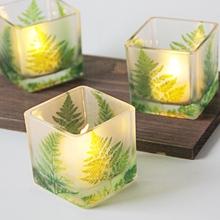 饰摆设送电子蜡 北欧绿叶6CM方形玻璃烛台浪漫表白烛光晚餐宴会装图片