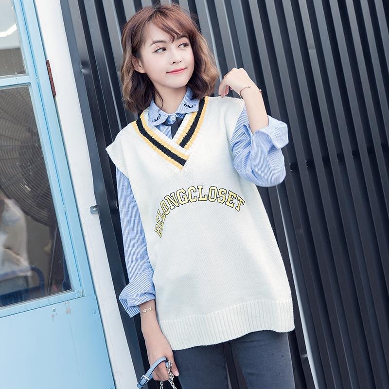 2018秋冬 Korean Academy wind sweater vest female V-neck vest loose word