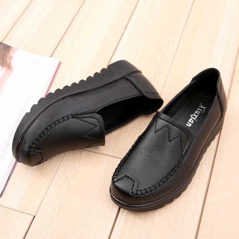 春秋新款妈妈鞋单鞋软底防滑女鞋子休闲平底工作鞋中老年人奶奶鞋