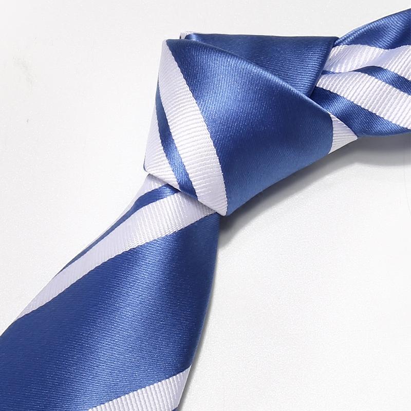 谛梵之家湛蓝色商务领带男正装8cm白色条纹学生领带职业上班工作