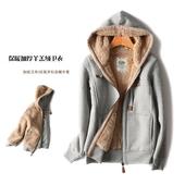 外套运动上衣 连帽卫衣加绒大码 男女款 冬季保暖加厚羊羔绒休闲长袖