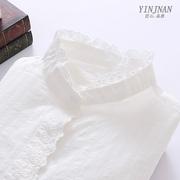 纯棉白色衬衫女立领长袖宽松蕾丝木耳花边打底衬衣春秋季新款文艺