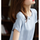 气质双领设计夺目加厚26姆米真丝上衣 4V3895俏丽雅致 珠光奶油肌图片
