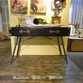 实木loft工业风复古仿旧铁艺皮质电脑桌双抽书桌美式办公桌工作台