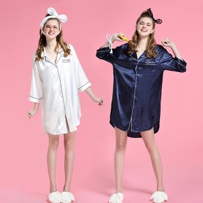 睡衣女夏冰丝睡裙性感韩版短袖宽松丝绸少女夏季衬衫中裙秋冬薄款
