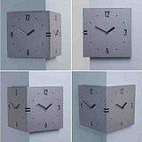 South Korea imported fashion creative living room two side wall clock silent clock retro simple clock gray
