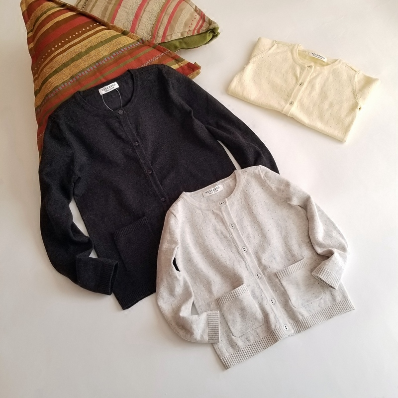 出口欧洲女宝花蕊镂空圆领长袖针织棉弹力口袋小童女童 毛衣开衫