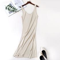 双面真丝针织V领背心连衣裙宽松内搭打底裙吊带裙衬裙大码加长款