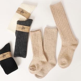 3双中长筒儿童冬季保暖羊毛袜 加厚毛袜子羊绒高筒男女宝宝堆堆袜