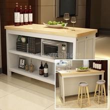 实木家用时尚吧台靠墙高脚桌多层置物料理操作台隔断柜奶茶咖啡桌