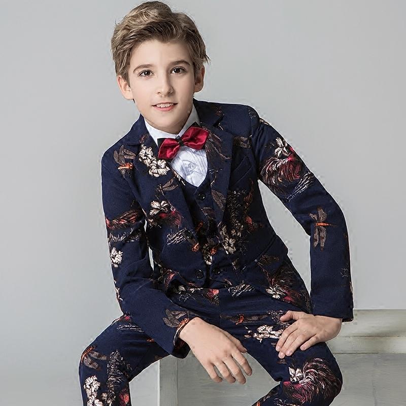 印花男童西装套装韩版花童礼服男走秀表演儿童中大童小西服男孩春