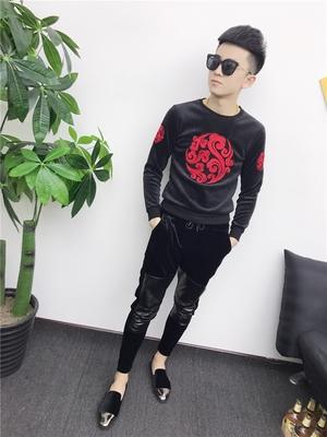 快手红人同款男T恤韩版潮流加绒打底衫社会小伙长袖小衫青年上衣