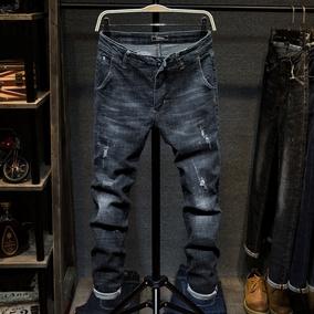 黑色破洞牛仔裤男秋冬季新款青年直筒修身弹力长裤潮流休闲补丁裤