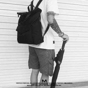 原创设计极简潮流纯色防水尼龙多功能手提包百搭学院风双肩背包男