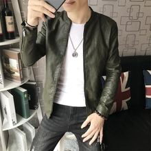 2009 New Leather Coat for Men's Locomotive Youth Coat Thin Fall Self-cultivation Korean Leather Jacket Handsome Men's Jacket