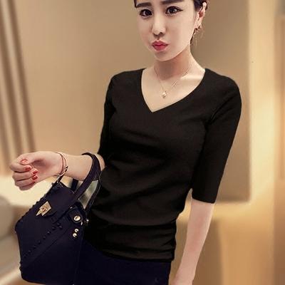 中袖T恤女士春裝打底衫女純棉修身五分袖顯瘦黑色V領緊身韓版上衣